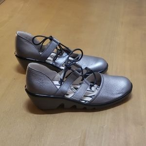 Fly london silver wedge lace up Mary Jane size 38